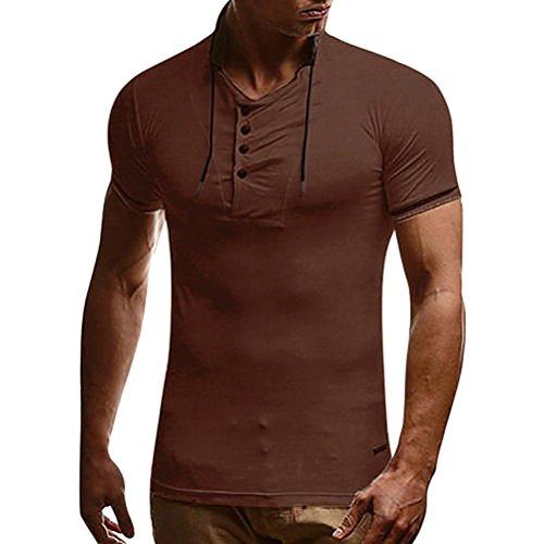 ren Shirt Slim Fit Rundhals Ausschnitt Basic Sweatshirt Vintage Kurzarm T-Shirt Tee Top (Carhartt Braun Langarm-shirt)