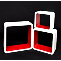 TS Ideen 5747 Set di 3 Mensole a Cubo da Parete, Stile Retró Design Anni '70, MDF, Bianco/Rosso