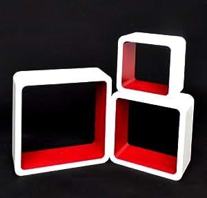 Ts ideen 5747 set of 3 cube wall shelves 1970s retro for Coin arredamento