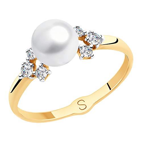SOKOLOV Jewelry 585 Gold Damen Ring mit Perle und Zirkonia I Perlenschmuck Goldring I Damen Verlobungsring Gold I Exklusiver Designer Markenschmuck Damen-Schmuck - Perlenring mit Zirkonia (16,5)