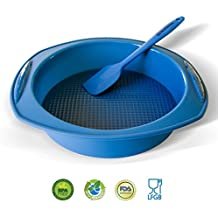 Molde redondo para Bizcochos y Espátula de Silicona de Backhaus® | Juego de Repostería de Silicona Premium Antiadherente | Libre de BPA | Grande Ø: 23cm - Azul