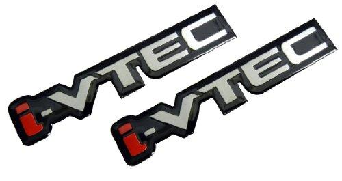 Honda Rsx Emblem (2 x i-VTEC Silver Red Black Engine Aluminum Emblem Badge Nameplate Decal Logo Rare (pair/set of 2) for Honda Acura Civic Si RSX)