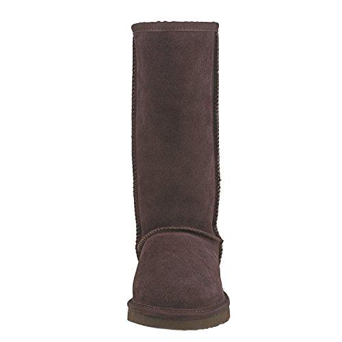 Shenduo Damen Schlupfstiefel Hoch Winterstiefel Leder Winterschuhe Klassisch Boots DA5815 Schokolade