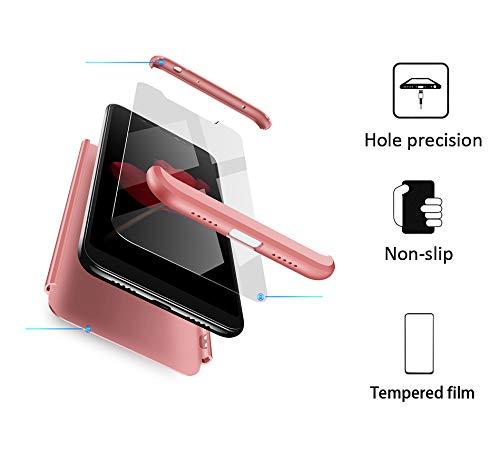 xinyunew Funda Xiaomi Redmi Note 6 Pro,360 Grados Protección Case + Pantalla de Cristal Templado,3 in 1 Anti-Arañazos Carcasa Case Caso Fundas teléfonos Móviles para Xiaomi Redmi Note 6 Pro Rose Oro