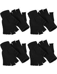 SATINIOR 4 Paar Winter Halb Finger Handschuhe Gestrickte Fingerlose Handschuhe Warme Dehnbare Handschuhe für Männer und Damen