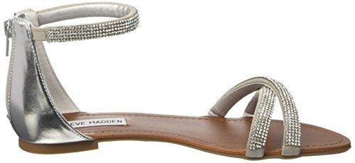 Steve Madden Damen Zippey Sandalen mit Riemchen, 35 EU Silberfarben
