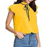 YWLINK Damen Schluppenbluse Freizeit KappenhüLse T Shirt MäDchen Krawatte RüSchen Volltonfarbe Stehkragen Süß Chiffon Blusen Klassisch Oberteile(S,A Gelb)