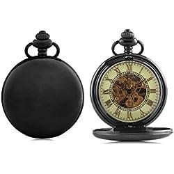 Alienwork Retro Handaufzug mechanische Taschenuhr Uhr grün schwarz Metall WDG005-10