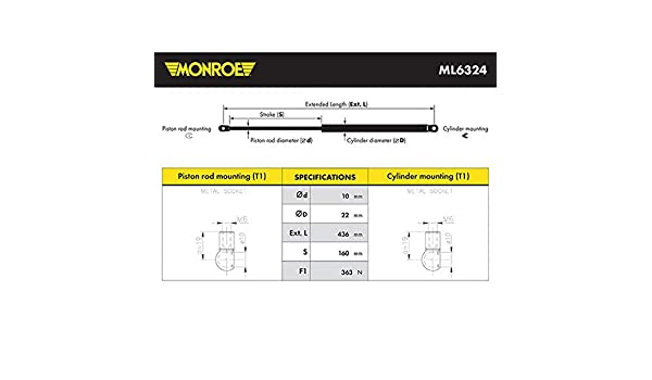 Monroe ML6324 Maxlift Gasfeder Motorhaube