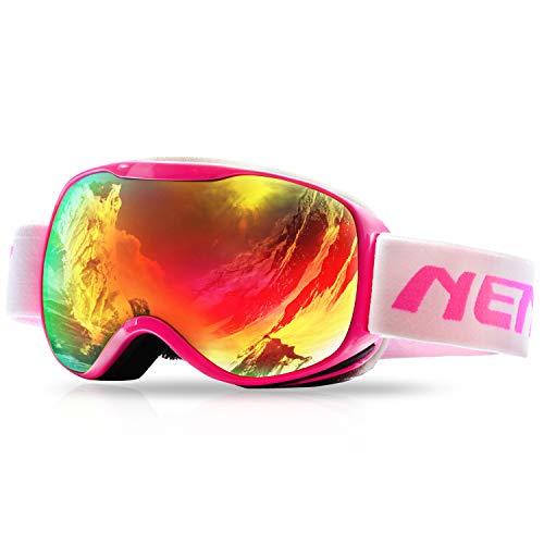 Nenki Skibrille nk-1002Für Kinder mit und 100% UV-Schutz Anti-Fog Objektiv Schneemobil Snowboard, rose