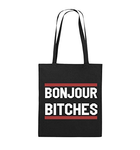 Buste Comiche - Bonjour Bitches - Borsa Di Juta - Manico Lungo - 38x42cm - Colore: Nero / Bianco-blu Chiaro Nero / Bianco-rosso