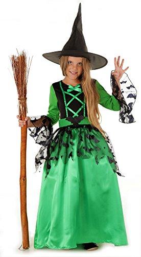 Magicoo Fledermaus Hexenkostüm Kinder Mädchen grün-schwarz & Hexenhut (122/128) (Einfache Halloween-kostüme Hexe)