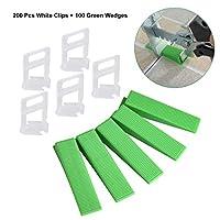 Hotgod Tile Leveling System Clips -200 Pcs White Clips + 100 Green Wedges(1mm)
