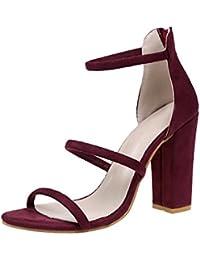 cc95bad956a6c Scarpe Donna camoscio Tacchi Donna Eleganti MEIbax Sandali Sexy Donna  Estate Caviglia Scarpe col Tacco Eleganti