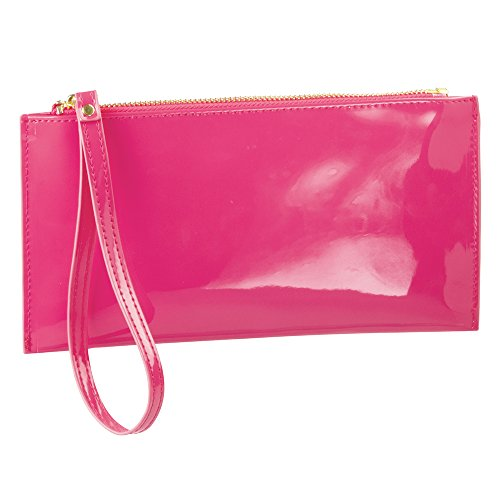 InterDesign Remy - Sobre para cosméticos (guarda maquillaje, accesorios para el cabello), color rosa y cuero vegano patentado