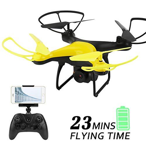 Drohnen Für Kinder, Drohne Mit 720P HD-Kamera Live-Video 23 Minuten Lange Flugzeit WiFi FPV RC Quadcopter Flugbahn Flug Mit Einem Schlüssel,Gelb