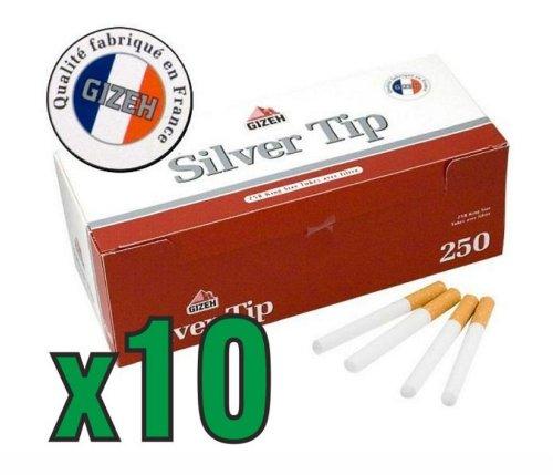 gizeh SILVER TIP - Lotto da 10 confezioni di 250 tubi di sigaretta vuoti