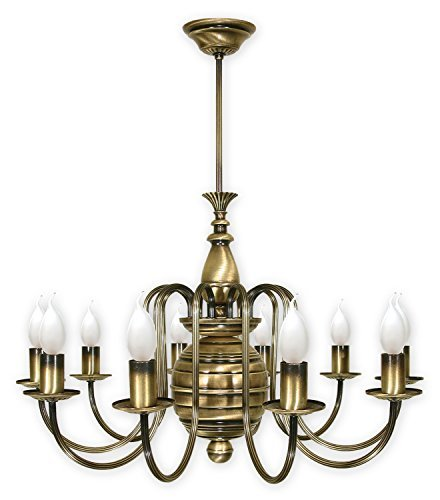 Pompöse Hängeleuchte in Messing 10xE14 bis 60W 230V aus Stahl Wohnzimmer Esszimmer Lampe Leuchten...