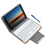 Knlona 3 in 1 Universal Wireless Blue-Teeth 3.0 Tastatur Schutzhülle mit Stander Kompatibel für 7/8 Zoll Tablette Gold