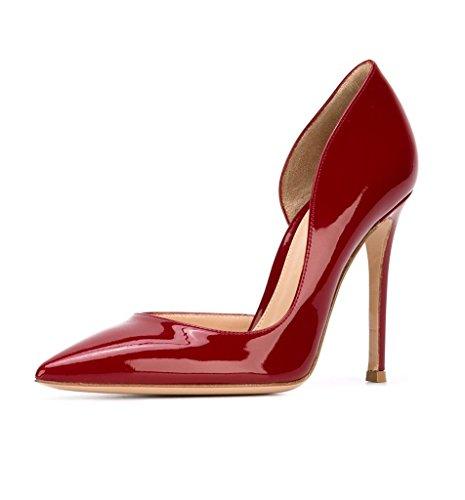 EDEFS - Escarpins Femme - 10cm Talon Haut Aiguille - Bout Pointu A Enfiler Chaussures Rouge