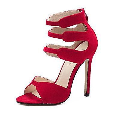pwne Donna Sandali Scarpe Club Vello Estate Abito In Pizzo Di Cucitura Stiletto Heel Rosso Nero 4A-4 3/4In US8 / EU39 / UK6 / CN39