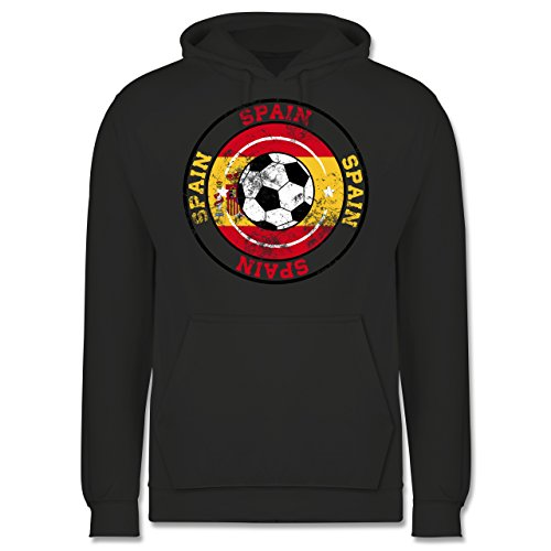 EM 2016 Frankreich Spain Kreis Fußball Vintage Männer Premium  Kapuzenpullover / Hoodie Dunkelgrau