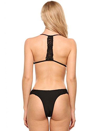 Ekouaer Damen Sexy Zwei Stück Bikini Set einfarbig Halter geflochtene Bademode Beach Wear Schwarz