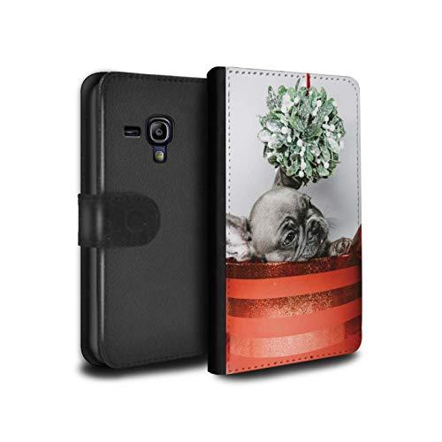 Stuff4® PU-Leder Hülle/Case/Tasche/Cover für Samsung Galaxy S3 Mini/Mistelzweig Welpe Muster/Weihnachts Festliche Jahreszeit Kollektion (Welpe S3 Samsung Galaxy Fall)