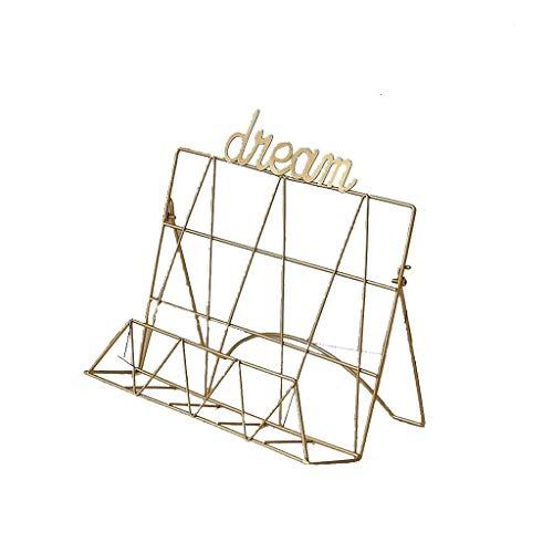 lquide Zeitungsständer für das Wohnzimmer Nordic Simple Bücherregal aus Metall Zeitungen und Zeitschriften Schmiedeeisen Zeitungsständer Wohnzimmer Arbeitszimmer Schreibtisch A + (Farbe: Gold) -