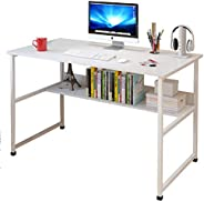 Computer Desk 100x45x73cm, Office Study Desk Computer PC Laptop Table Workstation with Steel Frame and Bookshe