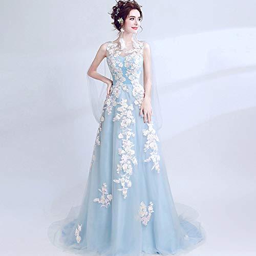 Wjz abito da sposa blu vestito da cerimonia nuziale vestito da sera abito da cerimonia per banchetti,blu,s
