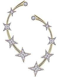 Zeneme Gold Plated American Diamond Ear Cuff Earring Jewellery For Women / Girls