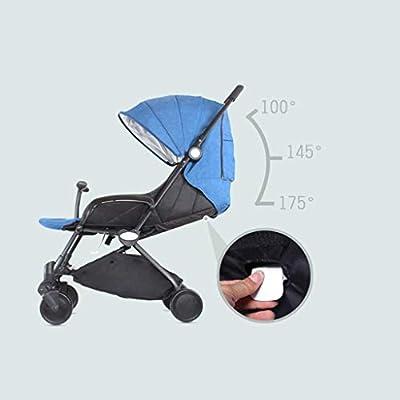 Doble Twin Cochecito for niños, plegable, desmontable, LightweightBaby del cochecito de niño del respaldo y reposapiés ajustable, 5 puntos cinturones de seguridad, de protección solar y almacenamiento