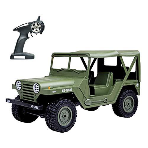 Prevently RC Geländewagen Funkferngesteuerte Auto 1:14 2,4G Militär Off-Road Jeep Robustes Ferngesteuertes Auto Weihnachten Geschenk Für Kinder (Army Green)