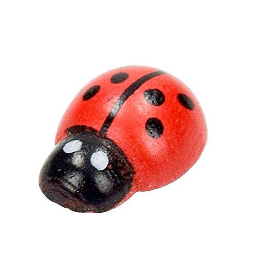 Efco Fil en Bois Coccinelle, Miniature, Rouge/Noir, 13 x 10 mm, Lot DE 30
