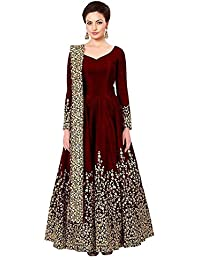 RUDRA ZONE Women's Gown With Hevy work marron (free size)