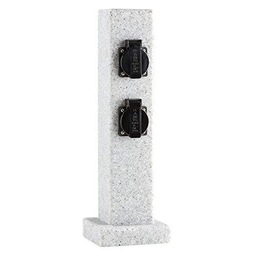 Waldbeck Granite Power Multiprise de jardin colonne (4 prises IP44, 3500 W, aspect pierre, socle avec perçages pour vissage au sol) - gris