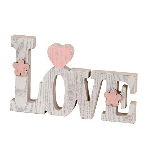 Mopec Dekoration Love, Holz, Weiß, 3x 20.5x 12.2cm