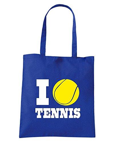 T-Shirtshock - Borsa Shopping TLOVE0140 i love tennis (3) Blu Royal