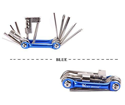 West Biking Werkzeug-Set zum Reparieren und Warten von Fahrrädern, Edelstahl, klein, kompakt, leicht, für Stadträder und Mountainbikes, Schwarz, goldfarben, Blau, Rot Blau