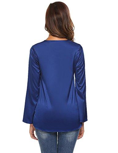Meaneor Femme Blouse Casual Manche Longue T-Shirt Lâche Tops Haut Chemise Loose Bleu Marine