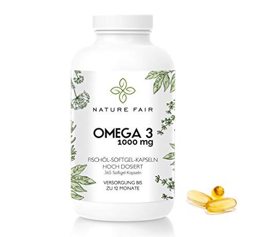 Omega- 3 Kapseln - 1000mg Fischöl - 365 Kapseln Fischöl & Vitamin E hochdosiert (1000 mg pro Softgel-Kapsel) - hergestellt in Deutschland Omega3 Fettsäuren triglyceride Triglyceride