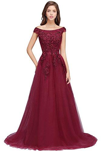 Damen Elegant Kurzarm Spitzen Abiballkleid Abendkleid Perlstickerei Rückenfrei lang Wein Rot 44