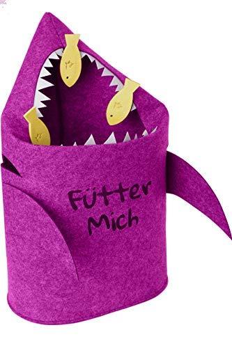 Grinsefisch Aufbewahrungskorb Kinderzimmer - Spielzeugkorb oder Wäschekorb aus Filz(Pink) (Laundry Wäschekorb 4 Korb)