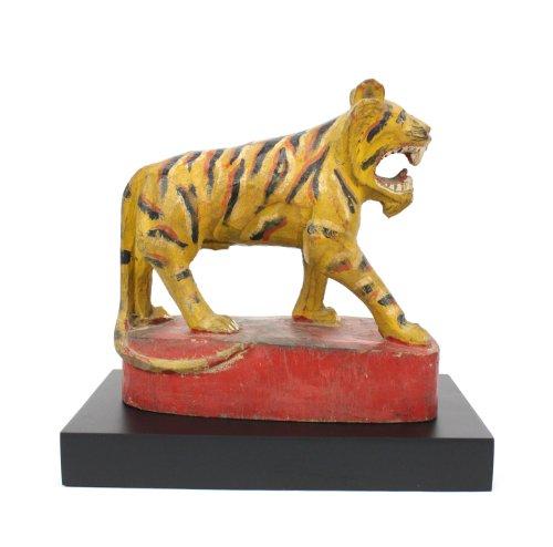 Lanna antiquariato birmano tigre, legno dipinto e laccato, no.2