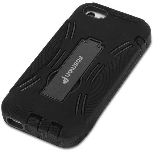 Fosmon HYBO-DT Abnehmbar Hybride Silicone + PC Case Cover hülle mit Stund für iPhone 5c - Schwarz / Rosa schwarz