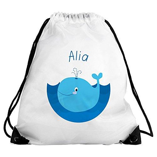 Eurofoto Turnbeutel mit Namen Alia und Motiv mit Wal für Mädchen | Sportbeutel für Kinder (Alias-pack)
