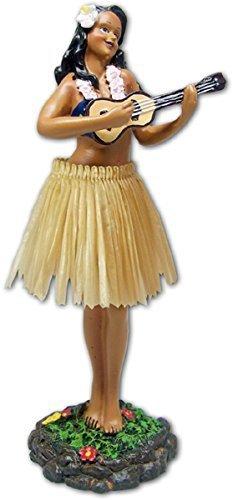Leilani Dashboard Doll Playing Ukulele Natural 7' by KC HAWAII