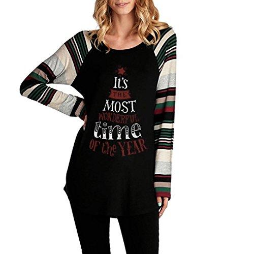 kt Brief Weihnachtspullover Herbst Langarmshirt Rundhals Lose Bluse (Passenden Family-shirts Für Disney)