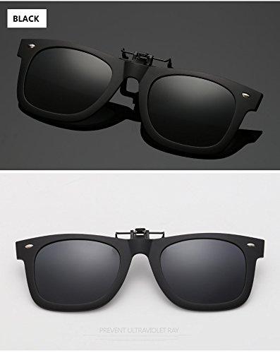 Easy Go Shopping Polarisierte Clip auf Myopie Brille Clip kurzsichtigen Tag und Nacht Fahren Vision Objektiv Anti-UVA Anti-UV Radfahren Reiten Sonnenbrille Clip (Color : Black)